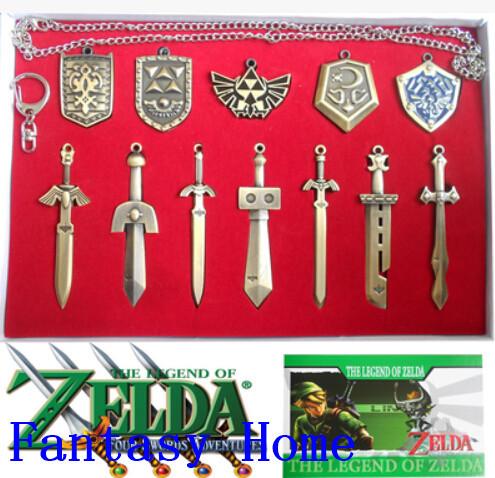 Pendant Free shipping 12 pcs/set The Legend of Zelda Weapons Link Skyward Sword / Triforce Zinc Alloy Necklace Keychains(China (Mainland))