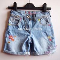 6pcs/lot (2-8T) Wholesale Baby Girls Shorts Jeans Kids Denim shorts Embroidery Flower Short Pants Summer Shorts Free Shipping