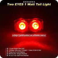 Free Shipping 10pcs/Lot New 1W 2 LED Super Bright Cycling Bicycle Bike Safety Rear Tail Flashing Light Lamp
