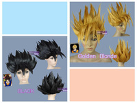 Dragon Ball Goku GOLD And BLACK Halloween Wigs-fits both adult and kid  no Lace Front queen brazilian made wigs