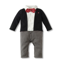 3pcs/Lot (0-12M) Newborn Baby Rompers For 2014 News Infant Plaid Faux 2-piece Jumpsuits with Tie cotton Coveralls