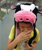 Wholesale 8pcs/lot pink pig / Milk Cow short paragraph plush toys cartoon animal hats performing props Children Headgear