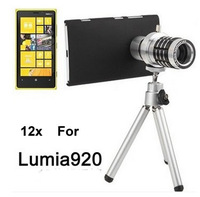 high quality Metal mobile phone 12x optical Telephoto Telescope lens camera for NOKIA Lumia 920 with tripod,10pcs/lot