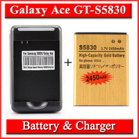2 x 2450mah High Capacity Gold Bussiness Battery + Charger  For Samsung Galaxy Ace S5830 Gio S5660 Pro B7510 Bateria AKKU
