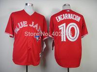 Wholesale baseball toronto 10# Edwin Encarnacion red jerseys, please read size chart before order