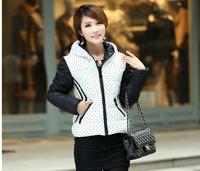 Ladies Fashion Short Down Coat Outerwear Winter Jacket Women Down Jacket Parka 2014 Cotton-Padded Polka Dot Clothes