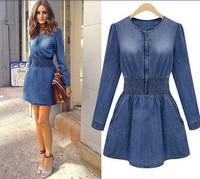 2014 New European Women Long-sleeve Denim One-piece Dress Fashion Ladies Slim Jeans Tops Blouses antumn dress Free Shipping