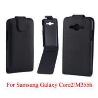 10pcs Best Quality Flip Leather Back Cover Case For Samsung Galaxy core2 m355h Free Shipping