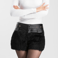 Free shipping New arrival women sheep shorts  with wool,women leather shorts with rivet,lolita fur shorts skirt