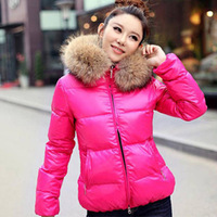 Candy-color oversized fur collar thick fur collar cotton-padded jacket cotton padded jacket short paragraph Slim coat R809