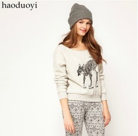 Hot sale 2014 Women's gray sweater with skating deer printed Hoodies Pullovers Sweatshirts  for freeshipping and wholesale