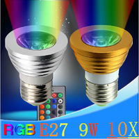 10X Free shipping RGB led bulb 9W E27/GU10/MR16/GU5.3/E14 LED spotlight + 16 color Remote controller led lamp light