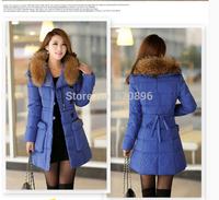 Down coat 2014 new winter jacket women Long paragraph Korean version of Slim fur hood solid color thick down jacket