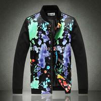 2014 Autumn Men's Jackets Men Patchwork Floral Pu Leather Cotton Baseball Jacket Men Plus Size 3XL 4XL 5XL Mens Coat,Hoodies