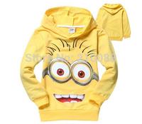 Retail 1pc boys girls despicable me 2 children' hoodies sweatshirts Cartoon kids minion outerwear children wear Hoody