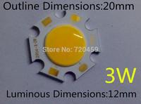 3W led chip 20mm diamete luminous dimension 12mm Taiwan chip High Bright  Ceiling light source  white/warm white