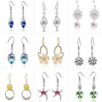 Fashion Water Drop Crystal Earring Jackets Women Alloy Semi-precious Stone Silver Jewelry Dangle Stud