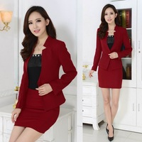 New 2014 Autumn Winter Formal Red Blazer Women Suits with Skirt and Jacket Sets Terno Feminino Ladies Office Uniform Style