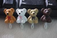 wholesale 200pcs new 2014 shinee kpop bowknot Bear couple of the 3.5mm  the cute cartoon anime anti dust plug ear cap phone