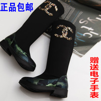 Girls Spring and Autumn new sequined boots high boots boots shoes princess