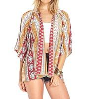 2014 New Fashion Women's Vintage Flower Print Chiffon Blouse Shirt Women Loose Chiffon Kimono Cardigan