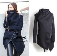 Shipping Top Fasion Long Zipper Worsted O-neck Full Pockets Solid 2014 New Style Winter Women Overcoat Fashion Trench Coat