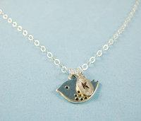 Personalized bird necklace, Monogram Initial Necklace, Girlfriend Necklace,  Initial Necklace, Sister  Wedding Jewelry