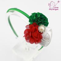 Baby girl Christmas headbands Satin ribbon flower hairband newborn kids Toddler hair Accessories12pcs/lot