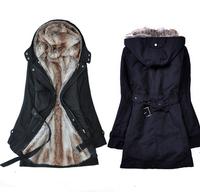 Casacos Femininos Faux Fur Lining Women Hooded Ladies Long Jacket Winter Warm Cotton Coats Clothes Parkas Free Shipping