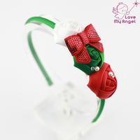 Christmas headbands Satin ribbon flower hairband christmas gift for newborn kids Toddler 12pcs/lot