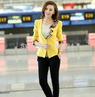 New design!Flower blazer feminino 2014 slim three quarter sleeve print patchwork S to XXL yellow jackets blazers for women