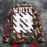 2014 best quaity winter rare newest hip hop OFF white stripe 13 print men windbreaker camo pocket embroidery badge JACKET coat