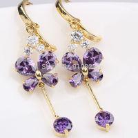 Four-leaf Shaped 18k Yellow Gold GF Fashion Amethyst Dangle Earrings Jewelry Gift