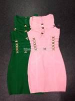 2014 new pink green metal button  bandage Celebrity dress Party Evening Dresses HL dropship & wholesale