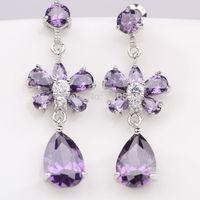 Genuine Amethyst Pure Silver Womens Dangle Earrings Wedding Jewelry Xmas Gift