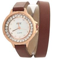 New Luxury Elegant women dress watch Genuine Cow leather bracelet wristwatch multicolor diamond Long strap quartz watch JW1734