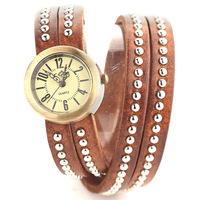 2014 new ladies brand Vintage Genuine Cow leather watche rivet bracelet wristwatch Women dress quartz watch Free shipping JW1735