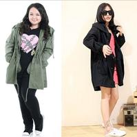 High Quality Big size Autumn Long womens Green Black Waistbelt Slim plus size XXL korean trench coat for women cardigans