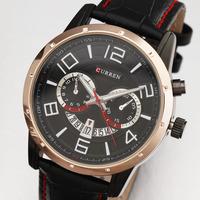 Curren New Men Auto Date Muti Window Casual Wristwatch Analog Quartz Watch Sub-Dial Decoration Leather Band Masculino Relogio