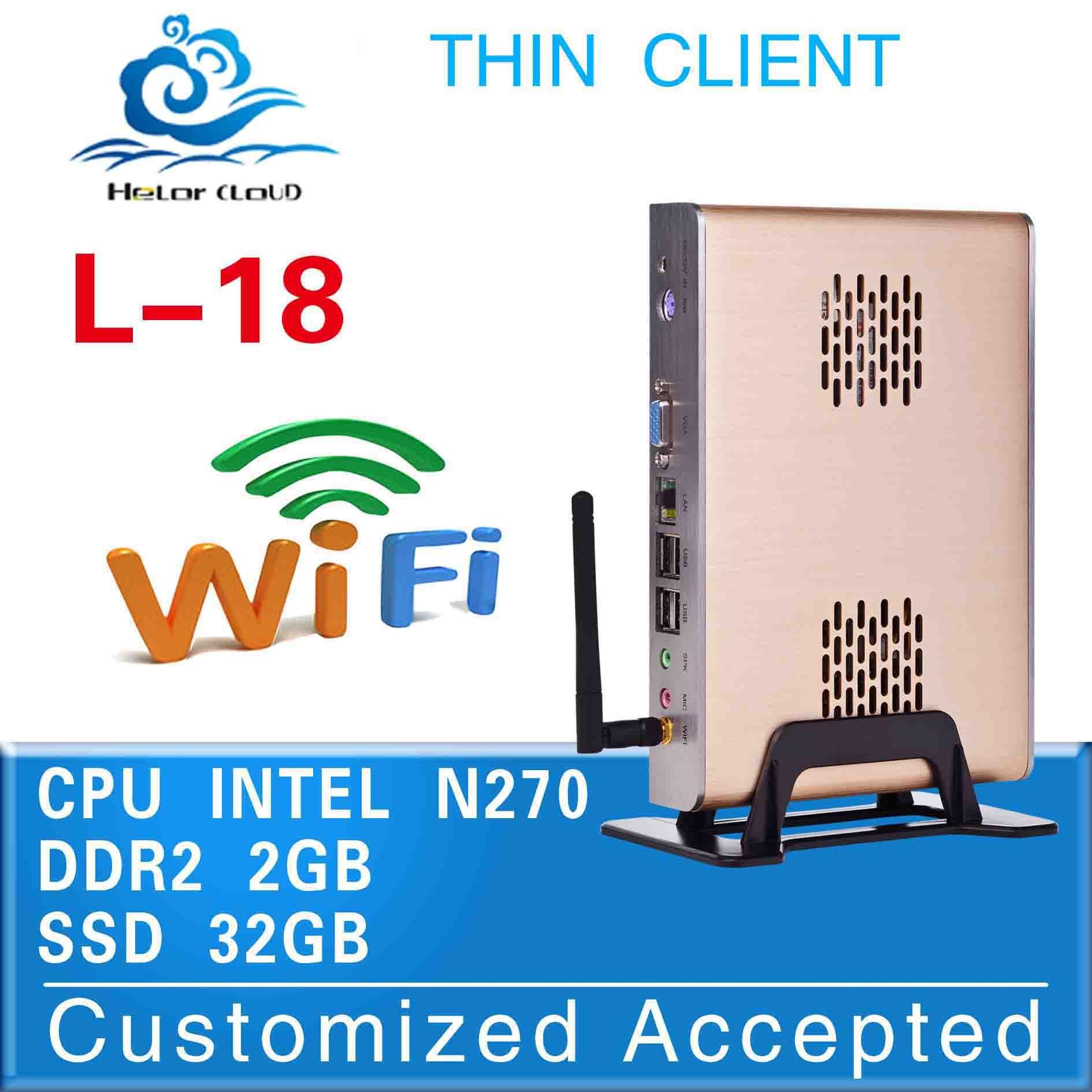the cheapest good quality mini pc l-18 intel atom n270 network fanless desktop 2g ram 32g ssd mini industrial pc thin client(China (Mainland))