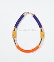 2014 Hot Sale Brand ZA Pipe Chokers Necklaces Colorful Lint Wapped Gold Necklace Bijoux KK-SC676