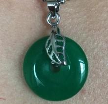 Beautiful silver leaves inlaid jade green peace buckle lucky pendant Sa_074(China (Mainland))