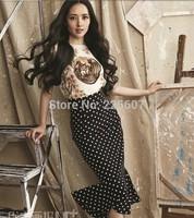 2014 New fashion free shipping Plus size  hot sale European and American Style Polka Dot Wrap Ruffle Skirt