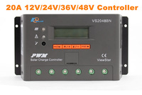 20A 12V 24V 36V 48V Auto PWM Solar Charge Controller LCD Display With Solar Panels And Battery For Solar Power Generator System