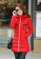 Free shipping 2014 winter new thick hooded down jacket and long sections Slim coat women