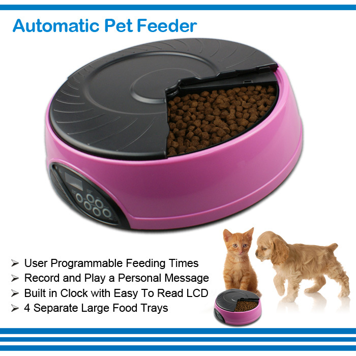 4 Trays LCD Display Pet Safe Material Automatic Feeding Bowl Digital Timer Pet Cats and Dogs Food Feeder Dispenser(China (Mainland))
