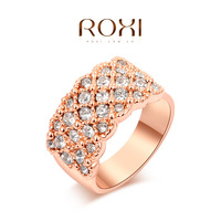 ROXI Fashion Designer Gem Rose Gold Plated Wedding Rings For Women Clear Crystal Rows Elegant Vintage Ring For Party Anel Ouro