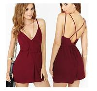 New 2014 Summer Sexy Women Chiffon Bodysuits Deep V-Neck Spaghetti Strap Pinched Waist Backless Jumpsuits, Burgundy, S, M, L, XL