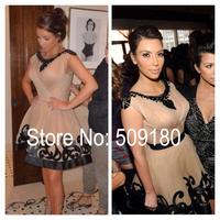 High quality Sexy champagne A line Knee Length Custom Made Formal Celebrity Dress Design JO9980 kim kardashian short dress