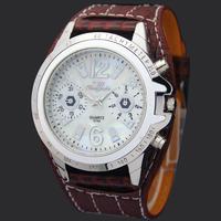 Dark Brown Dial Face Gentle Mens Teenagers Analog Quartz Xmas Gift Brand Sport Wrist Watches Hours Clocks, Free Shipping